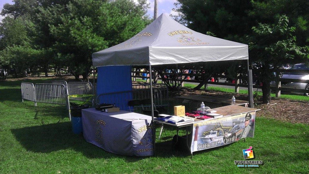 Full dye sublimation printed tent and table covers- Ocean County Sheriff