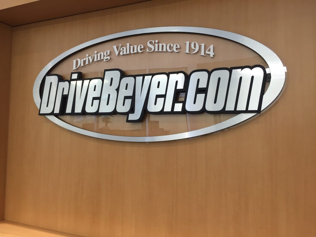 3-dimensional raised lettering with brushed metal finish compliments interior fixtures finish