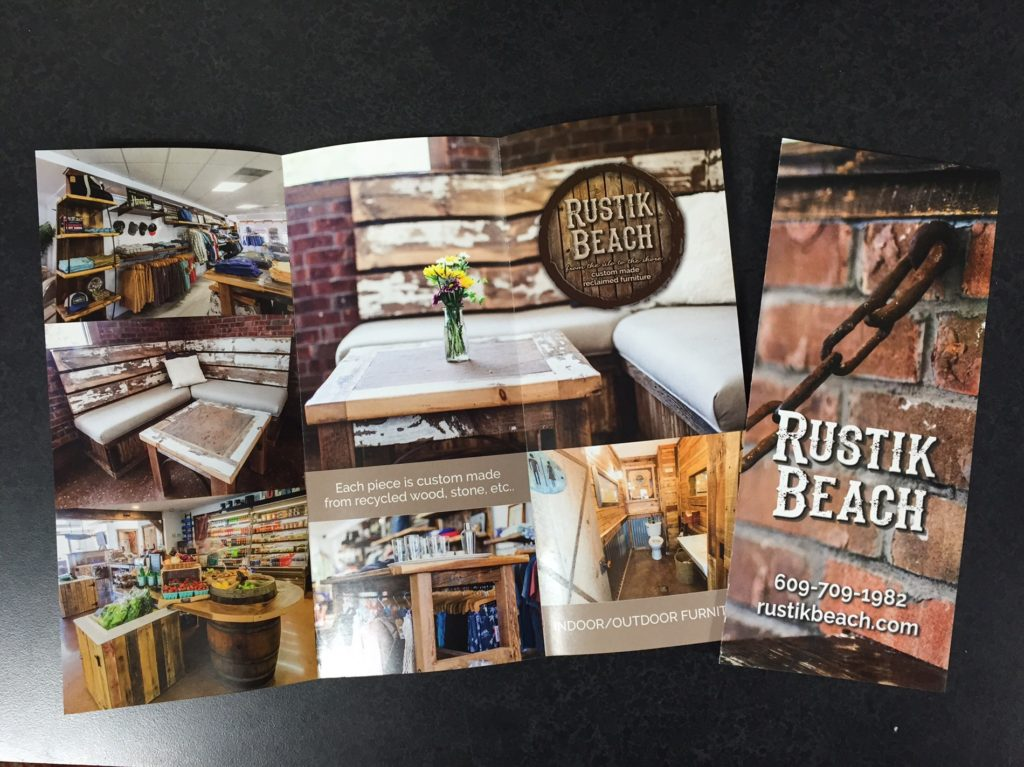 design logo and branding, and print tri -fold brochures for Rustik Beach from the silo to the shore